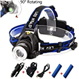 Rechargeable Headlamp,1800 Lumens Zoomable Waterproof LED head lamp flshlight , Hands-free Headlight Torch Lamp for Hunting Hiking Camping Fishing Reading Running Cycling