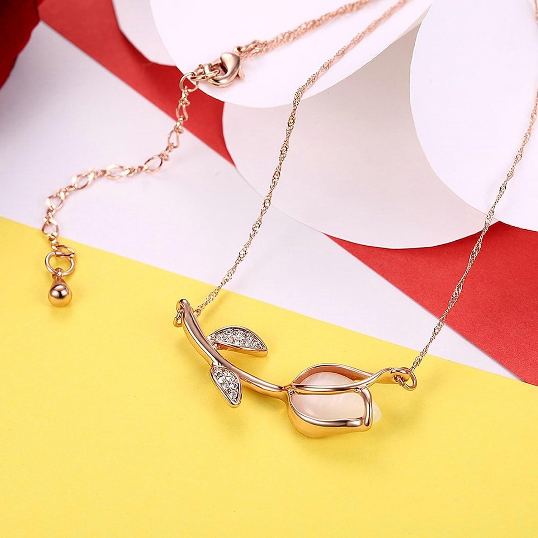 Adisaer Womens Rose Gold Plated Pendant Necklaces Semiprecious Stone Rose Pendant CZ Extender 18 2