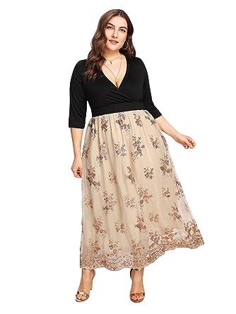 c981811d GMHO Women's Lace Plus Size 3/4 Sleeves Midi Business Cocktail Short Formal  Dress (