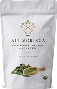Raw Organic Moringa Oleifera Leaf Powder Superfood, Loaded with Vitamins and Minerals, Powerful Antioxidants, Natural Antibiotic, Certified 100% Organic by USDA 4 oz by All Moringa