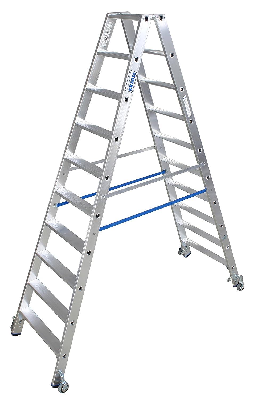 LDE876 Escalera de Tijera Doble con Ruedas, 2 x 10 Peldaño, 3.9 m Altura de Escalera, 2.35 m Altura Escalera: Amazon.es: Industria, empresas y ciencia