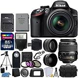 Nikon D3200 24.2 MP CMOS DSLR Camera (Black) + 18-55mm ED II AF-S DX Zoom Lens + 52mm 2x & Wide Angle Lens + Gadget Bag + Wireless Remote + Transcend 32GB Card - International Version (No Warranty)