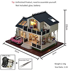 MAGQOO Wooden Dollhouse Miniature DIY House Kit with Furniture,1:24 DIY Dollhouse Kit (Provence Dust Proof and Music Box Included)