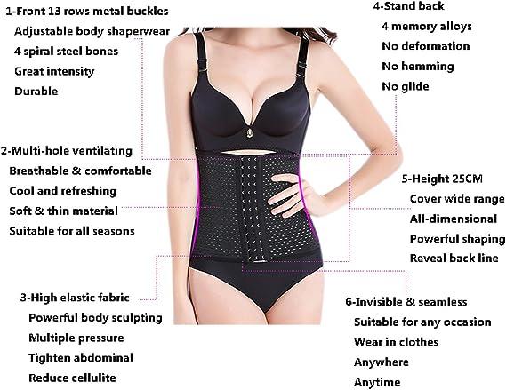 YANXEN Women Waist Trainer Body Shape Corset Tummy Shapewear Postpartum Belly Wrap Plus Size XS, Black