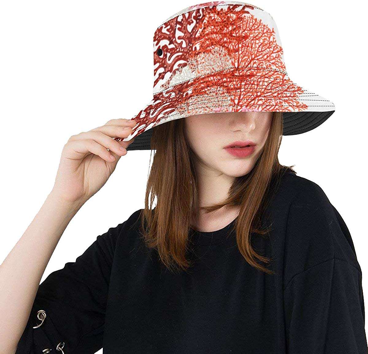 Bright Color Coral Summer Unisex Fishing Sun Top Bucket Hats for Kid Teens Women and Men with Packable Fisherman Cap for Outdoor Baseball Sport Picnic