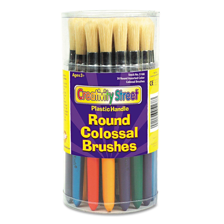 Creativity Street 5168 Colossal Brush, Natural Bristle, Round, 30/Set