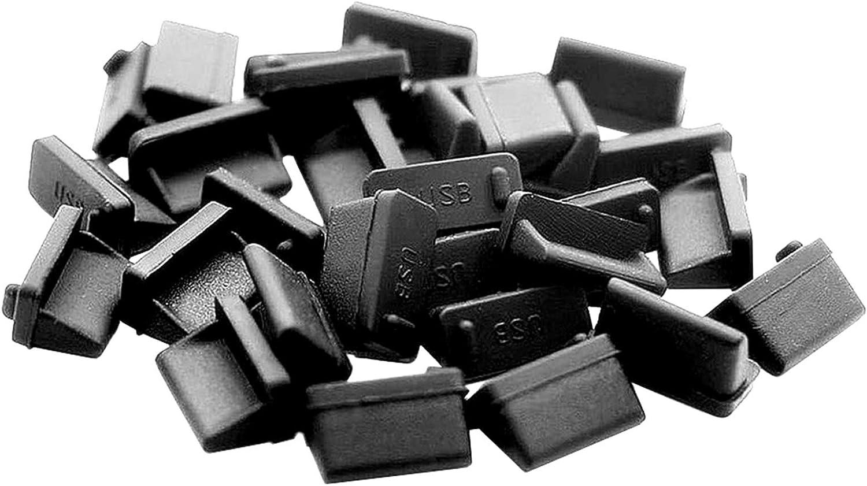 ThreeBulls 30 Pcs Silicone USB Cap Port Cover Anti Dust Protector for Female End Black