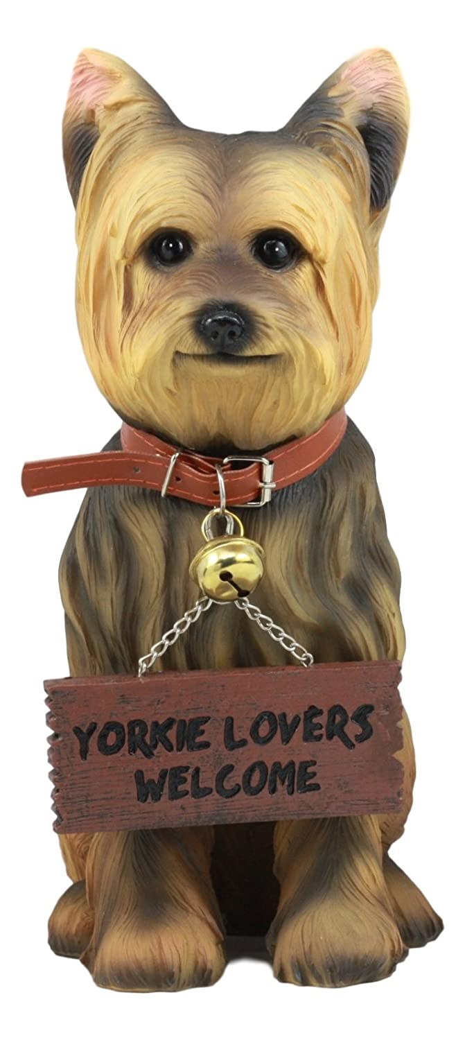 """Ebros Yorkie Dog Garden Statue 12.5""""H Yorkshire Terrier Figurine With Jingle Collar and Sign Patio Welcome Decor Guest Greeter Realistic Animal Dogs Sculpture"""