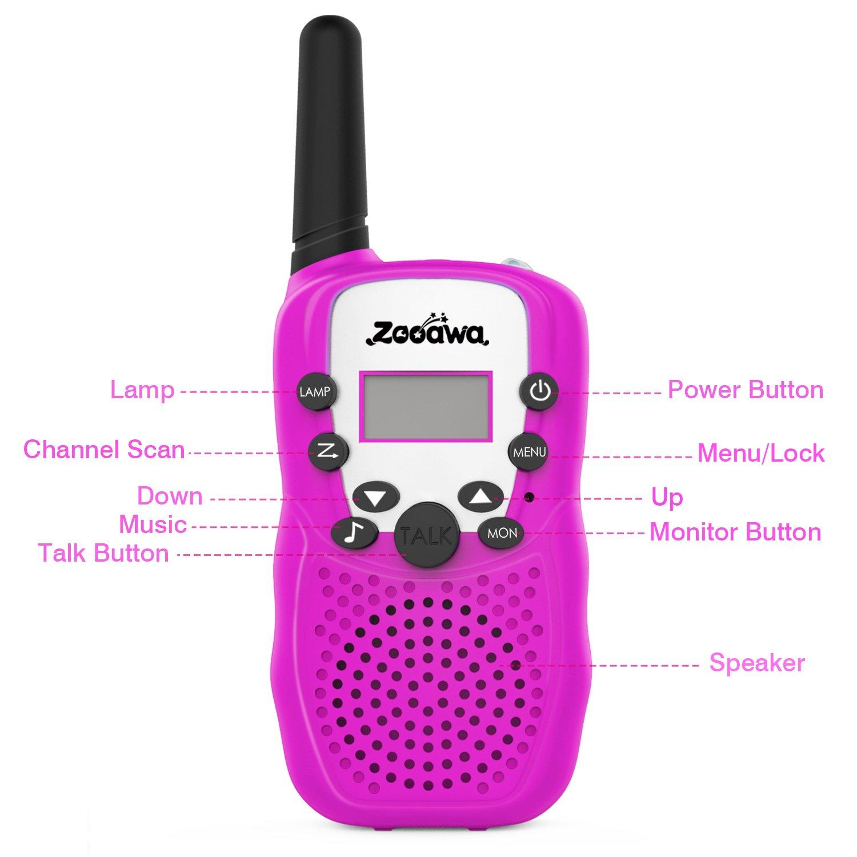 2 Pcs Walkie Talkie de Mano Zooawa Ni/ños inal/ámbricos al Aire Libre Interphone 2 v/ías 3 KM Rango Durable Radio Transceptor de Juguete con 22 Canales para Camping y Senderismo Azul