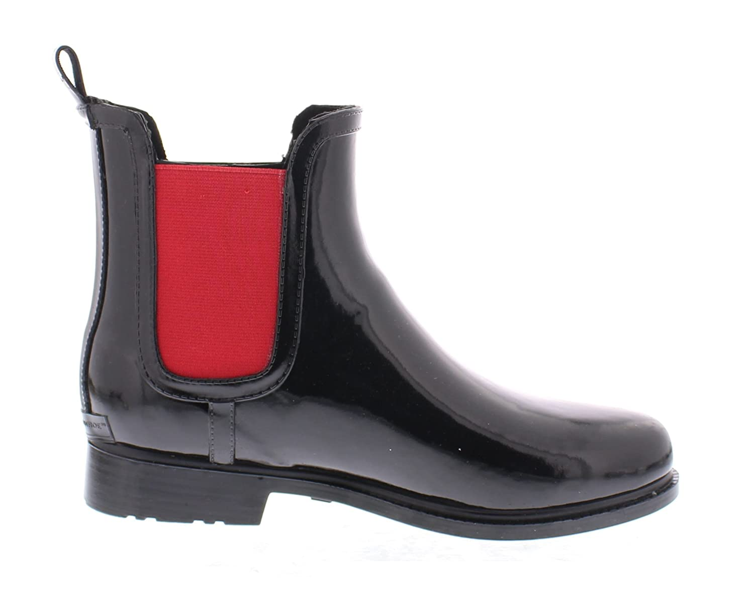 Marilyn Monroe Women's Ankle Length Short Chelsea Rainboot Shoes, Waterproof Jelly Pull On Welly Boots B078SP3KQ9 10 B(M) US Black/Red