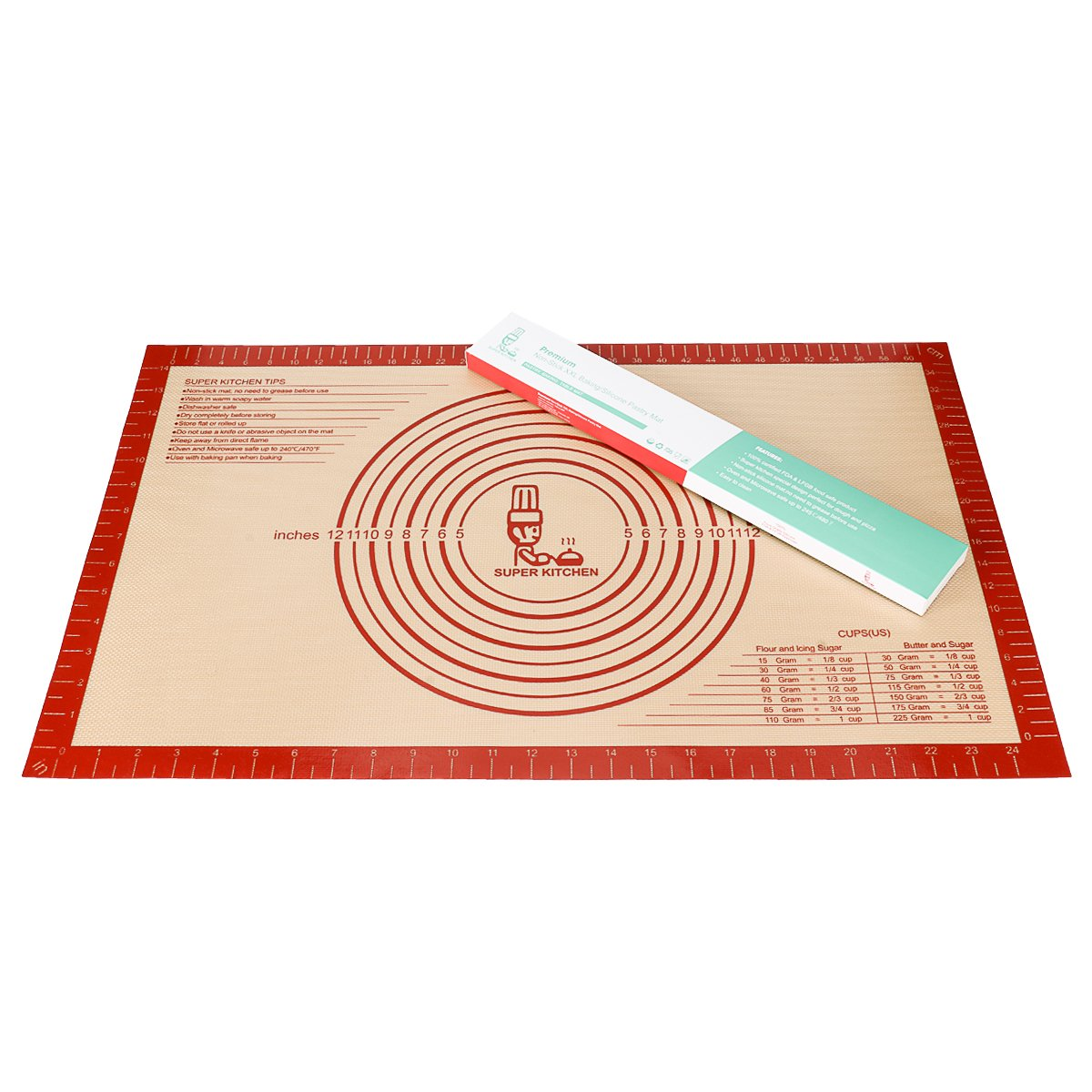 Large Silicone Pastry Baking Mat with Measurements,16 x 26 Inch Silicone Fondant Sheet, Non-Slip Mat Sticks to Countertop for Rolling Dough ,Pie and Baking Mat By Folksy Super Kitchen (16x26, Red)