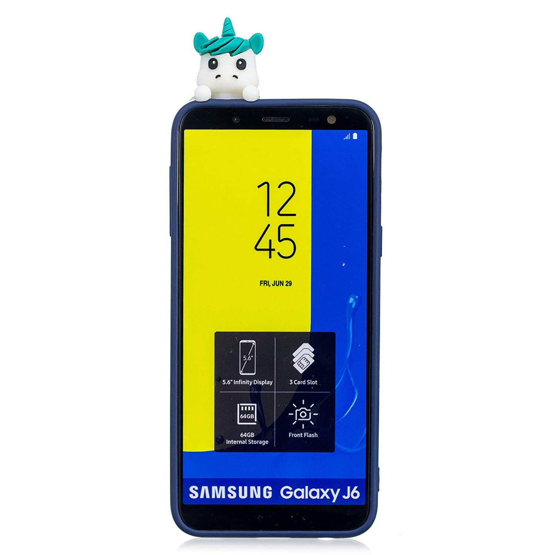 Schwarz B HopMore Kawaii Einhorn f/ür Samsung Galaxy J6 2018 H/ülle Silikon 3D Schutzh/ülle Tier Muster Bumper Design Ultra D/ünn Slim Handyh/ülle One Piece Silikonh/ülle Case Cover f/ür Samsung J6 2018