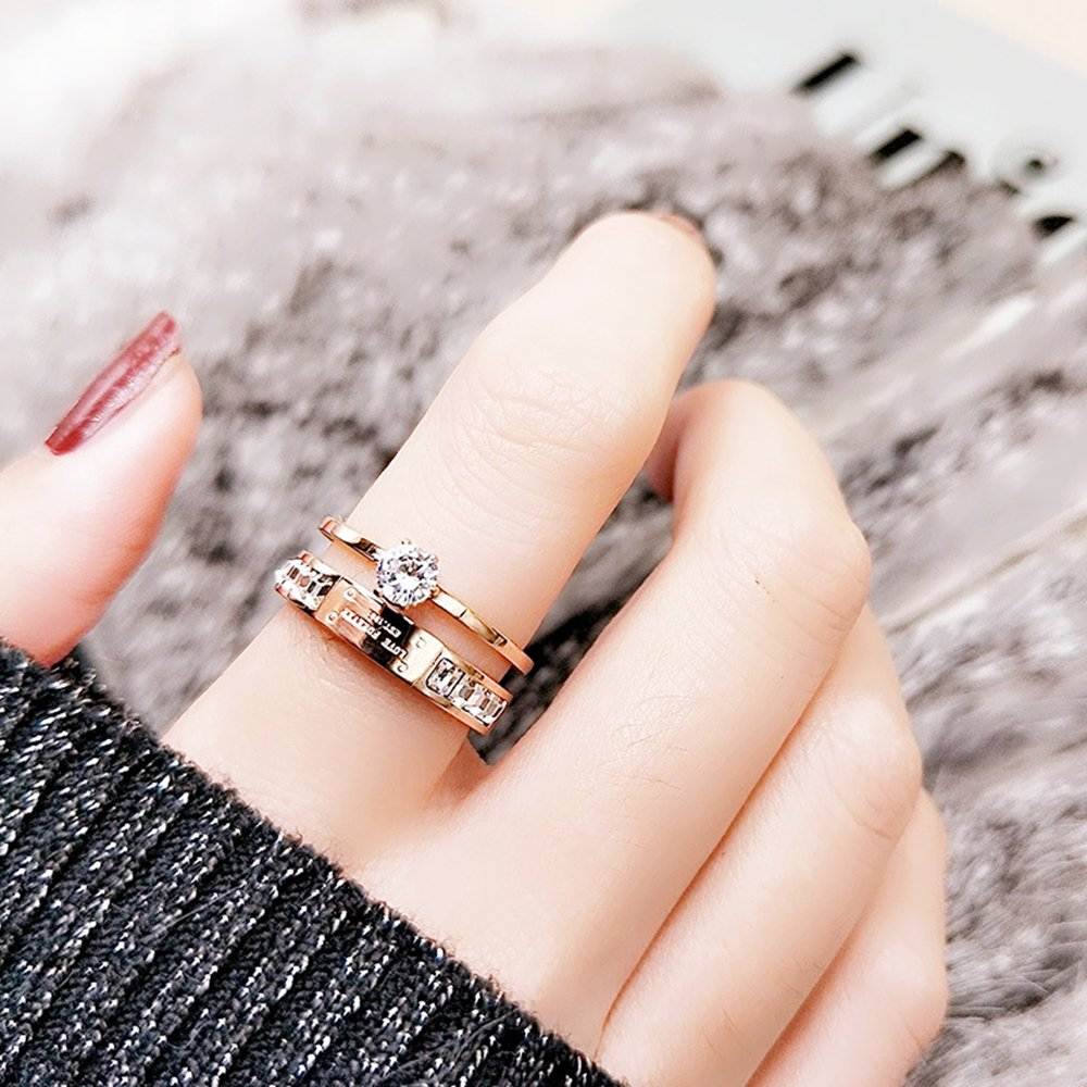Qindishijia Love Double Zircon Ring-Rose Gold Titanium Retro Eternal Love Ring(Size:7) by Qindishijia (Image #2)