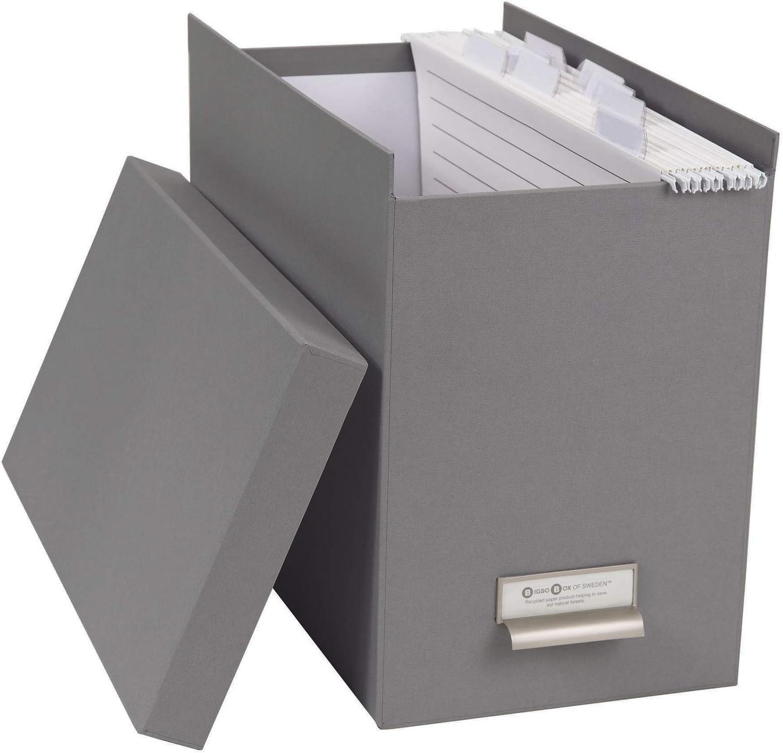 Gold und wei/ß stilvolle Archivschachtel inklusive 8 H/ängehefter H/ängemappenbox aus Faserplatte und Papier Bigso Box of Sweden H/ängeregisterbox mit Deckel