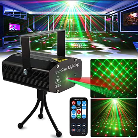 LED Projector Laser Lights Sound Activated Auto Flash Led Stage Lights for DJ Disco Party Home Show Birthday with Controller