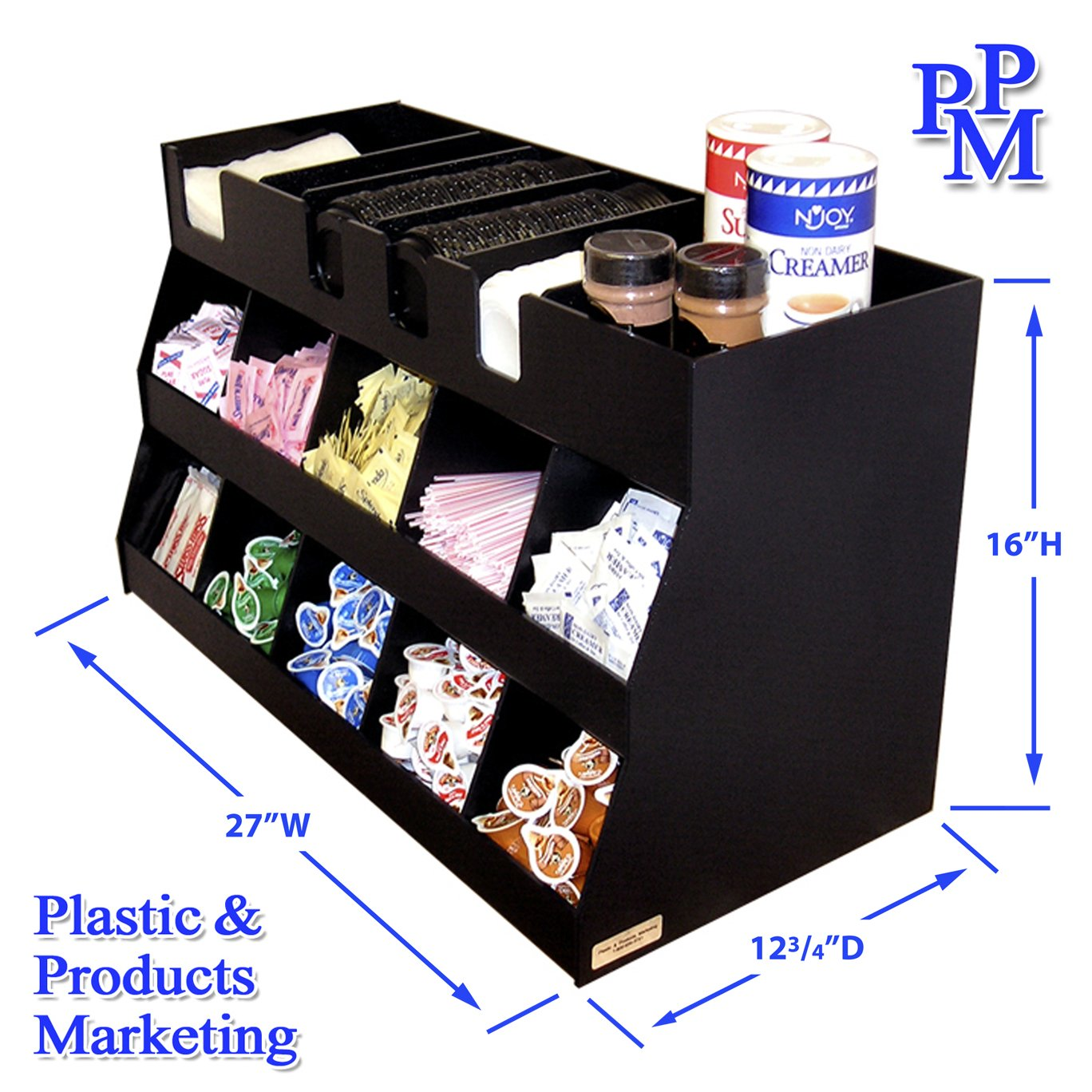 Large Office Coffee Organizer. 27'' W x 12 3/4'' D x 16'' High. Top Shelf Adds Storage For Lids, Canisters, Etc. Proudly Made in the USA by PPM