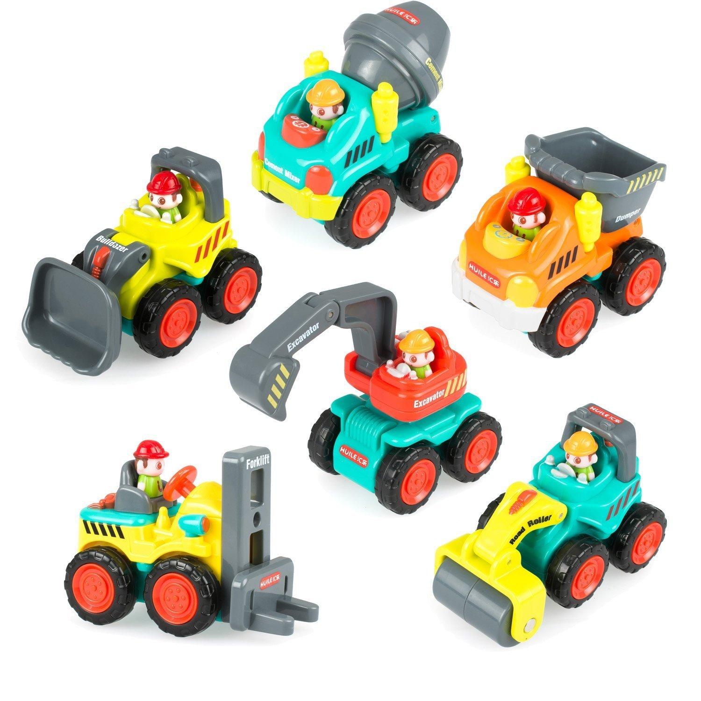 Kunststoff Spielzeugauto, 6 Baufahrzeuge in einem Set LKW Spielzeug für Kinder ab 18 Monate - Bulldozer, Zementmischer, Kipper, Gabelstapler, Bagger und Straßenwalze Topeasy