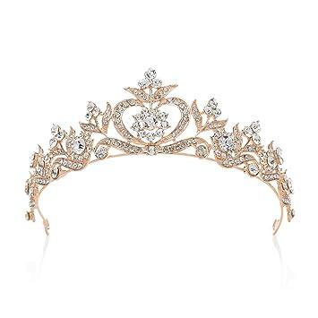 Amazon.com   SWEETV Crystal Princess Crown Rhinestone Tiara Bridal Head  Jewelry Wedding Hair Accessories 28b00e86ca83