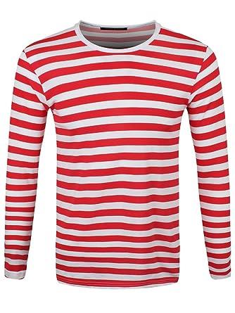 timeless design 8c970 0acc2 Männer Langarm T-Shirt rot/weiß gestreift: Amazon.de: Bekleidung