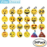24 Pack Emoji Mini Plush Pillows,2 Inch Mini Keychain Decorations Emoticon Toy for Kids Party Supplies Favors Clawmachine Pinata Filler Refill Prizes