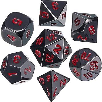 Juego de Dados 7-Die Poliédricos de Aleación de zinc Metal para Calabozos y Dragones RPG