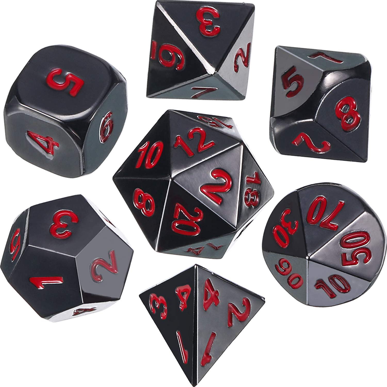 Frienda Zinc Alloy Metal Polyhedral 7-Die Dice Set for Dungeons and Dragons RPG Dice Gaming D&D Math Teaching, d20, d12, 2 Pieces d10 (00-90 and 0-9), d8, d6 and d4 (Black and Red) by Frienda