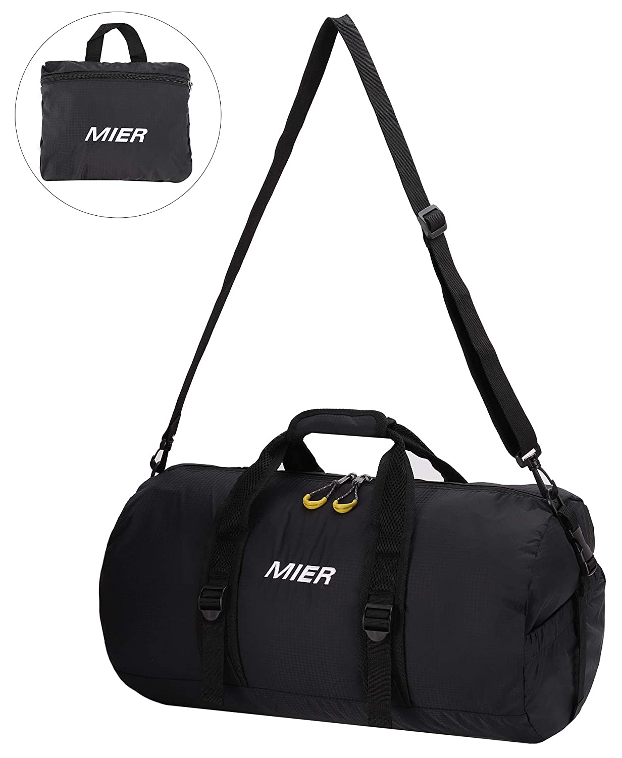 MIER 40L Foldable Barrel Gym Bag Sports Holdall Duffel Bag for Women,  Ladies and Men, Water Resistant Nylon (Black)  Amazon.co.uk  Luggage 0aec5d8d36