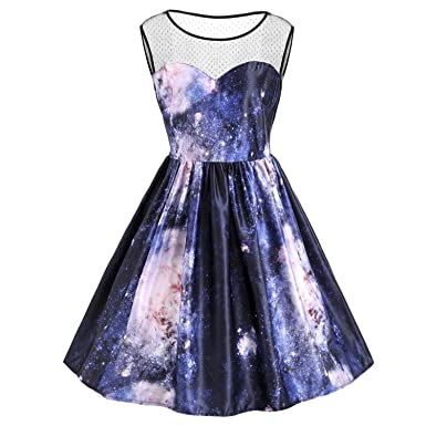Vintage Sleeveless Galaxy 3D Print Autumn Women Dress Party Vestidos De Fiesta as The Picture Dress