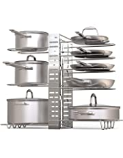 Pot Rack Organizers, 3 DIY Methods, Adjustable Height and Position Kitchen Cabinet Pantry Pot Lid Holder, 8+ Pots and Pans Holder for Kitchen Counter and Cabinet
