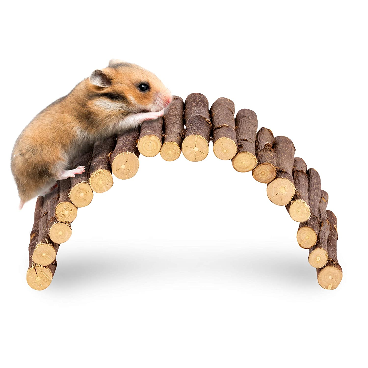 andwe Apple Twig Ladder Wooden Fun Bridge for Hamster Rats Sugar Gliders Mice Gerbils - Pet Cage Toys Habitat Decor