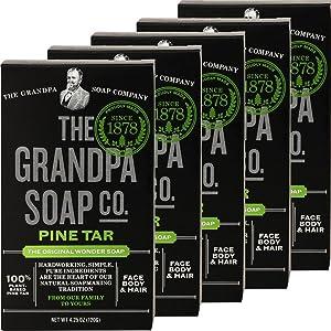 Grandpa's Pine Tar Soap Bath-Size 4.25 oz 5-Pack