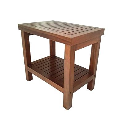 AlaTeak Wood Shower Bath Spa Waterproof Stool Bench with Shelf 19