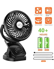 FITFIRST Rechargeable Battery Operated Clip on USB Desk Fan, Mini Portable Personal Fan Baby Stroller, Car, Gym, Office, Outdoor, Travel, Camping