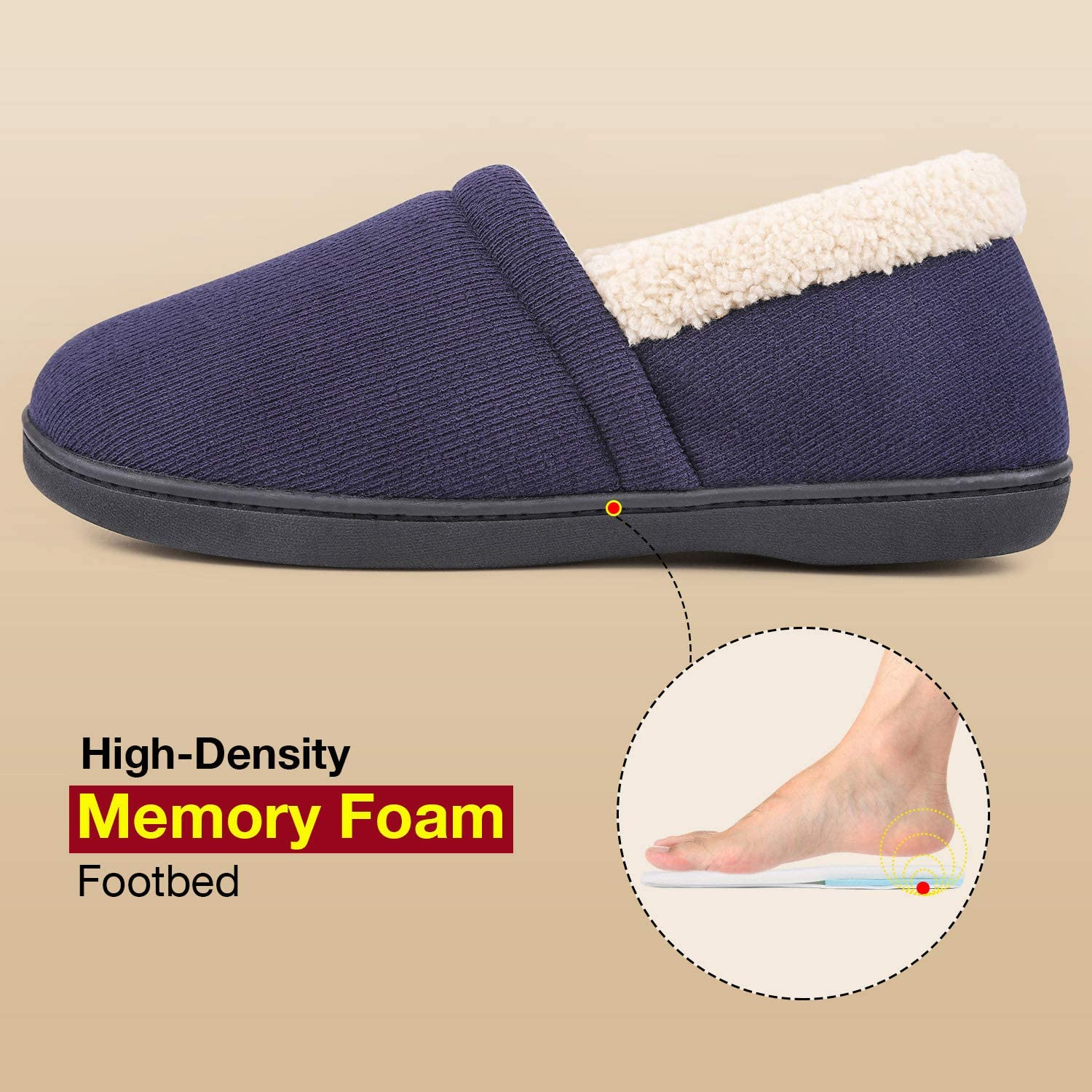 Mens Comfy Fuzzy Knit Cotton Memory Foam House Shoes Slippers w//Indoor Outdoor Sole