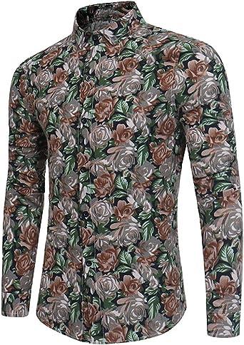 Camisa de manga larga para hombre con estampado floral Verde #04 Rosa amarilla S: Amazon.es: Ropa y accesorios