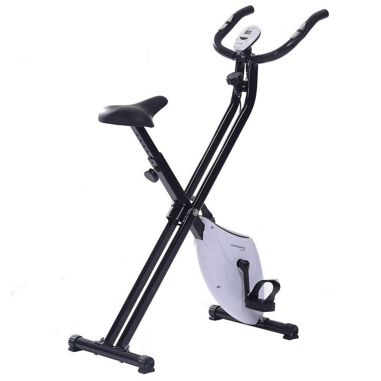 Bicicleta Estática Confidence Fitness Plegable (Blanco): Amazon.es ...