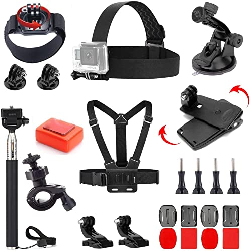 VVHOOY 24 in 1 Universal Action Camera Accessories Bundle Compatible with Gopro Hero 7 6 5 Session AKASO EK7000 Brave 4K V50 Native DBPOWER Crosstour Campark Action Camera Accessories