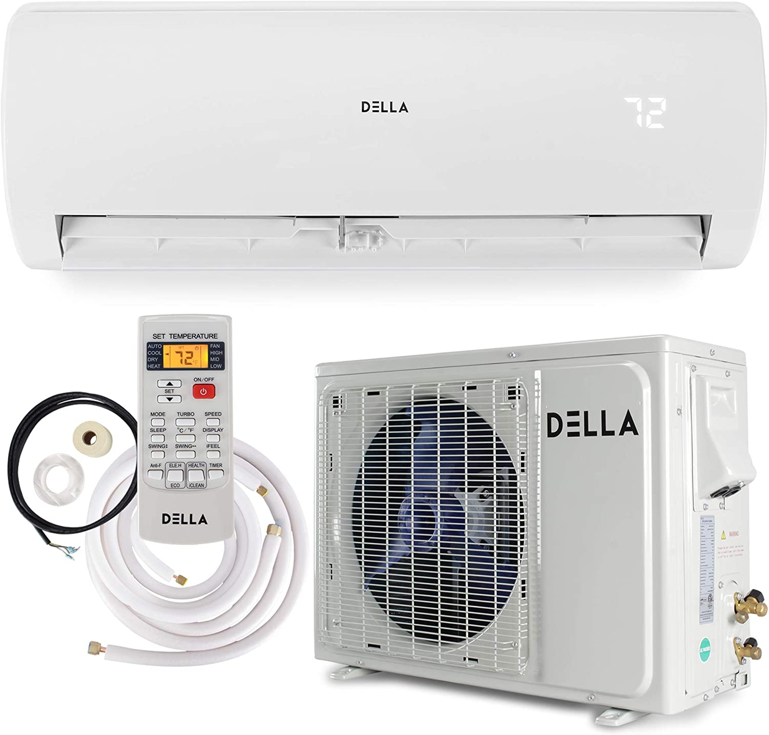 Della 12000 BTU Mini Split Air Conditioner Ductless Inverter System 17 SEER 115V with 1 Ton Heat Pump, Pre-Charged Condenser and Full Installation Accessories Kit AHRI