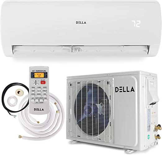 Amazon Com Della 12000 Btu Mini Split Air Conditioner Ductless Inverter System 17 Seer 115v With 1 Ton Heat Pump Pre Charged Condenser And Full Installation Accessories Kit Ahri Home Improvement
