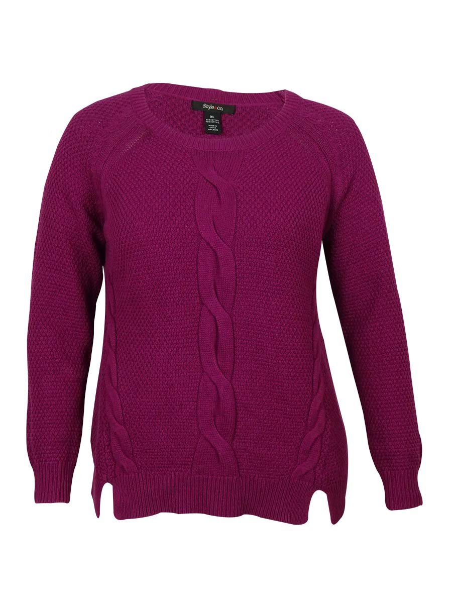 Style & Co. Women's Front Cable-Knit Detail Sweater (PL, Passion Flower)