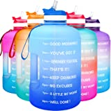 QuiFit Motivational Gallon Water Bottle - with Straw & Time Marker BPA Free Large Reusable Sport Water Jug with Handle for Fi
