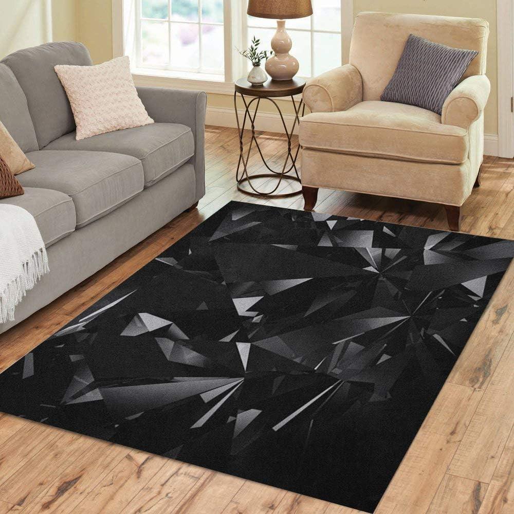 Pinbeam Area Rug Silver Diamond Black Facet Crystal Luxury Jewel Glass Home Decor Floor Rug 3 X 5 Carpet Kitchen Dining