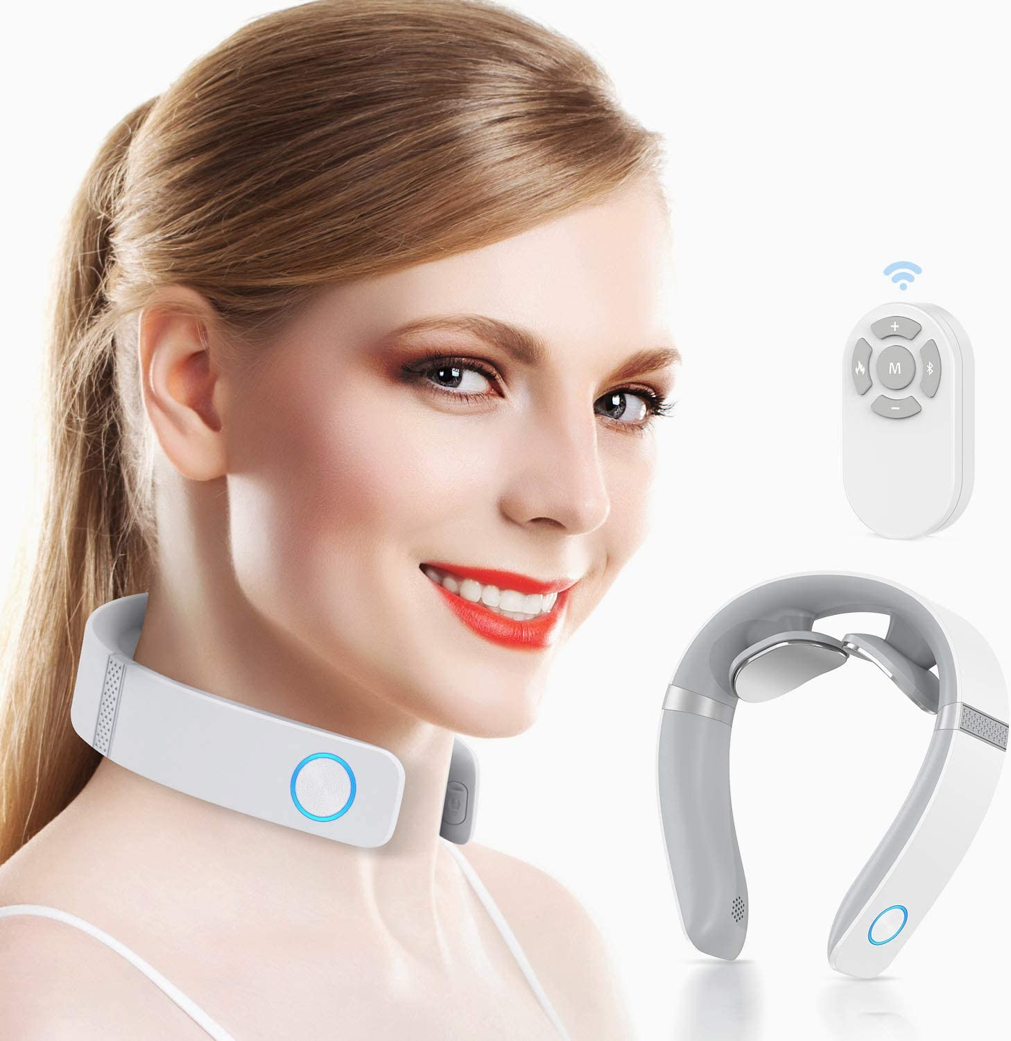 Amazon.com: HOMIEE Smart Neck Massager with Heat, 6 Modes, 16 Levels of  Intensity to Relax Neck, Remote Control, Voice Prompts, USB Charging,  Portable Cordless Neck Massager for Home Office Travel Women Men: