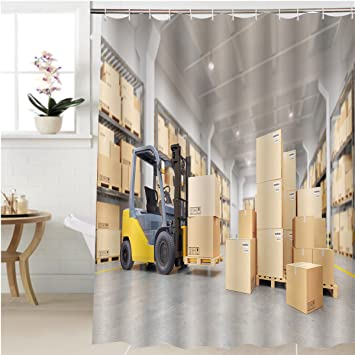 Gzhihine Shower Curtain Forklift Truck In Warehouse D Illustration Bathroom  Accessories 54 X 78 Inches
