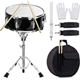 14 inch Snare Drum Set with Gig Bag, a pair Sticks,drum Stand and Drum Keys,a pair practice gloves for Students,Beginners (14