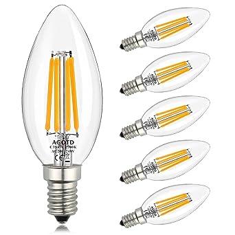 AGOTD E14 bombillas LED de Velas 4W, 40W C35 Bulbos Claros de Velas Equivalentes, Candelabro Blanco ...