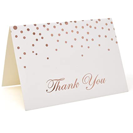Metallic Rose Gold Foil Dots Thank You Cards With Envelopes Set Of 48 Printable Blank