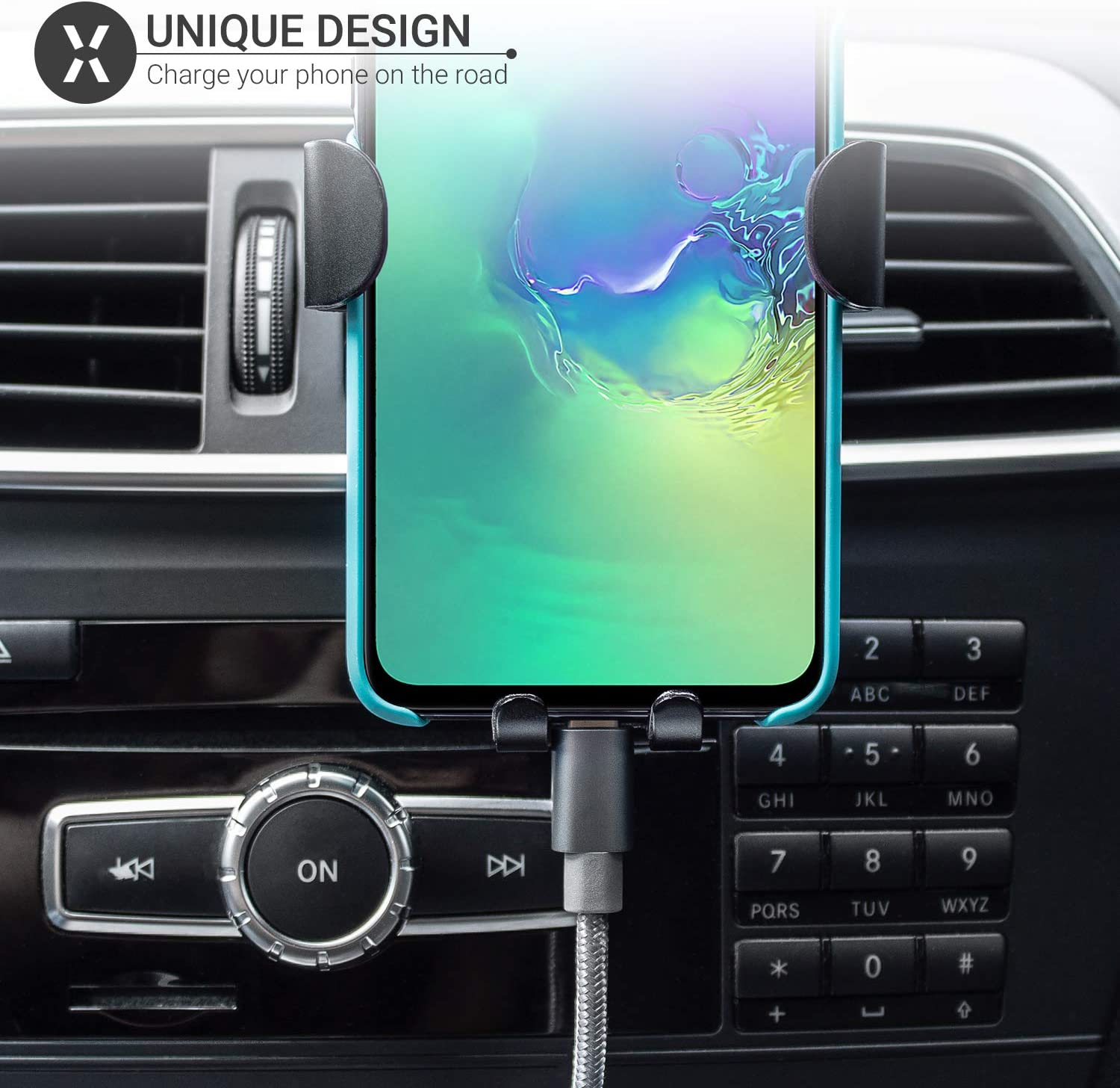 Gravity Car Air Vent Mount with Auto Grip Olixar Air Vent Phone Holder Samsung Galaxy Universal Smartphone Car Dock for iPhone Motorola Black Invent Huawei Devices and More