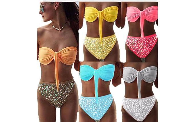 804839e799c Amazon.com  2 PCS Women Push-up Bra Bandage Bikini Set Swimsuit Beach Wear  Triangle Swimwear Bathing Suit  Clothing