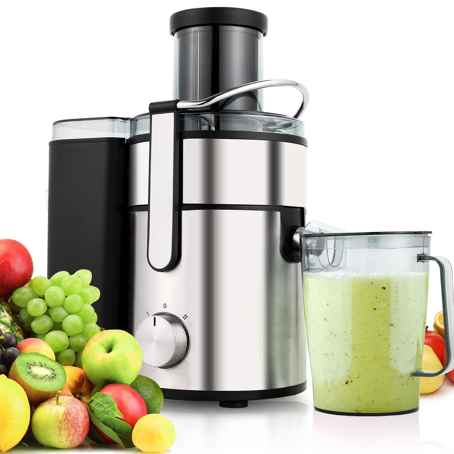 Flagup 1000 Watt Whole Fruit Juicer with 80mm Wide Mouth, 2 Speed Low-Noise Centrifugal Power Juicer Juice Extractor with Juice Jug(1000ML)